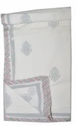 Home Decor Indian Voile Cotton White Damask Hand Block Printed AC Quilt Dohar