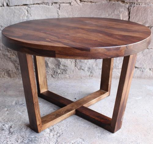 Round Wooden Coffee Table For Cafe And