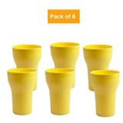Elegant & Sleek Design Durable Food grade plastic D2017_Plastic Glass , Freezer safe Glass, 300ml, Multicolor (Set of 6)