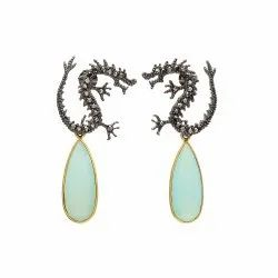 Dragon Ear Post Aqua Chalcedony Earrings Antique Look Earrings