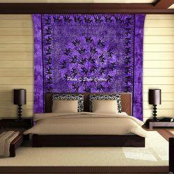 Purple Elephant Decorative Queen Mandala Tapestry
