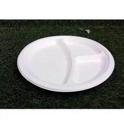 Eco Sense 3 Compartment Bagasse Disposable Plate, Size: 10