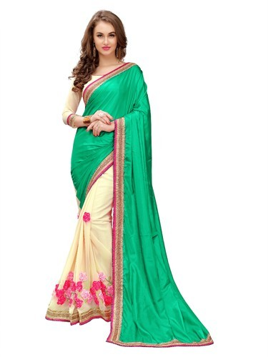 e40a55212c561 Embroidered Party Wear Sweetlook Women s Green Paper Silk Saree ...