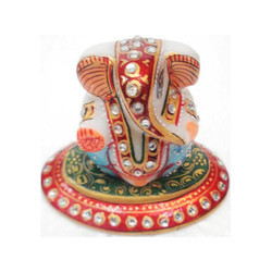 Bikaner House Marble Oval Ganesha, for Gift and Decoration