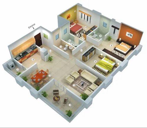 3bhk Residential Interior Designing Service At Rs 950000 Unit Flat Interior Designer Flat Interior Designing Service फ ल ट स ड ज इन ग सर व स फ ल ट ड ज इन ग स व ए Interior Designing Service Bidon