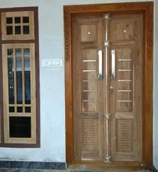 LRF Unfinished Teak Wood Double Door, Size: 100 X 200