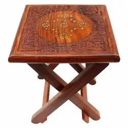 12x12x14 Inch Brown Wooden Folding Stool Table Designer Carving Brass Design