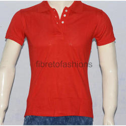 Red Cotton Ladies Polo T-Shirts