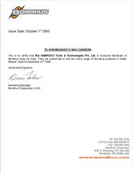 Bondhus Distributor Certificate