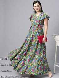 Blue & Green Floral Printed Flared Maxi