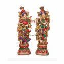 Brass Turquoise Radha Krishna Statue