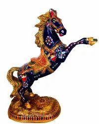Metal Meenakari Dancing Horse Statue Enamel Work Sculpture