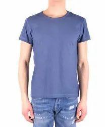 Blue Cotton Men T Shirt