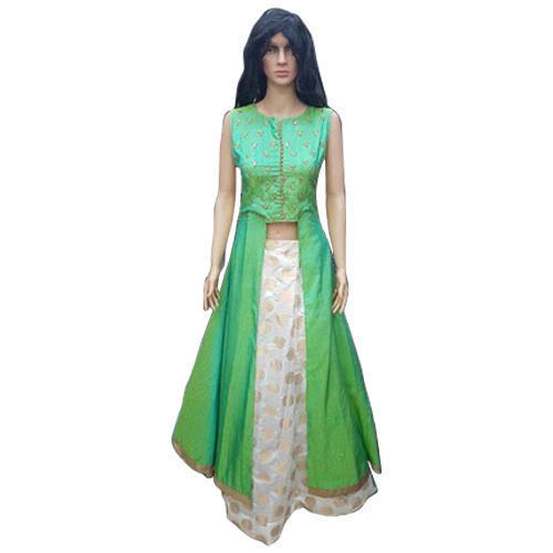 Green Silk Ladies Indo Western Dress