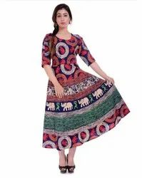 3/4th Sleeves Rajasthani Printed Cotton Frock