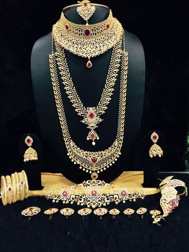 Vardhaman Goodwill American Diamonds Full Bridal Set With 9 Accessories Rs 8900 Set Id 6486906773