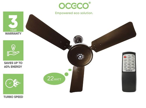 Oceco Bldc Ceiling Fan 900 Mm 22 W Remote Control Led Light Brown Voltage 230 V Model Number Smart J1 Rs 3750 Number Id 20395533297