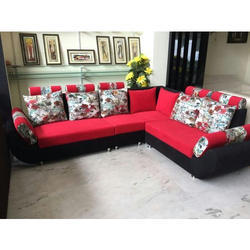 L Shape Red Designer Sofa Set