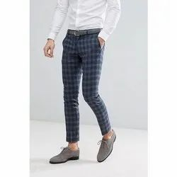 Regular Fit Mens Check Twill Cotton Trousers, Packaging Type: Packet, Size: 30-36