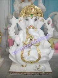 White Stone Ganesha Marble Statue