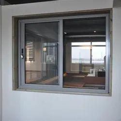 Gray Powder Coated Aluminium Window, For Home