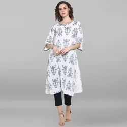 Janasya Women''s White Pure Cotton Kurta(JNE3529)