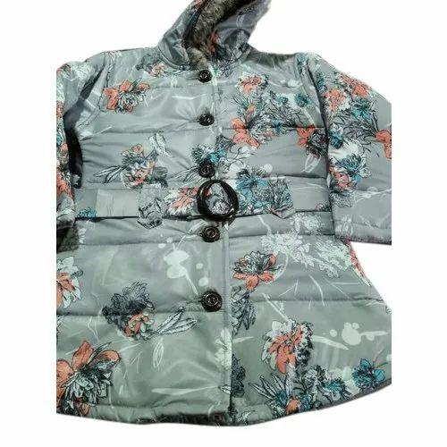 Full Sleeve Party Wear Ladies Printed Long Jacket