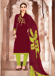 Cotton Embroidery Work Churidar Suit