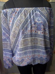 Chiffon printed off shoulder top with full lining