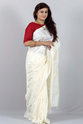 Pearl White Muga Silk Saree