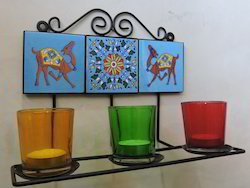 Hand Painted Metal Tea Light Holder