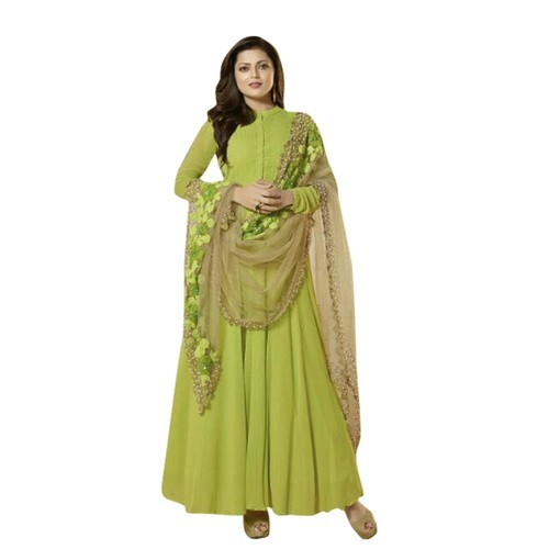 c429b1b28 Embroidered Parrot Green Georgette Long Anarkali Suit