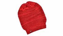 Red Casual Woolen Cap
