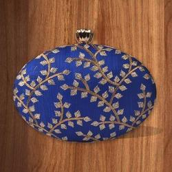Oval Shape Embroidery Box Clutch