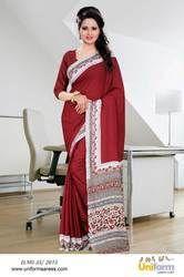 Maroon School Teacher Uniform Plain Saree
