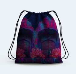 Cool Blue Rajasthani Drawstring Bag