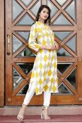 Yellow and White Rayon Kurti