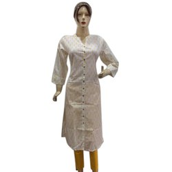 White Knee Long Cotton Kurta