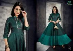 Satin Silk 3/4th Sleeve Art Riddhs Mirror Heavy Gown Style Kurtis, Wash Care: Dry clean