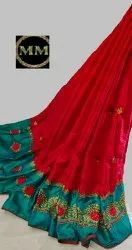 Shiny Paper Silk Saree With Embroidery Border, Saree Length: 6.3 m (with blouse piece)