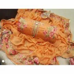 Rajnandini Orange Semi Modal Embellished Semi-Stitched Dress Material