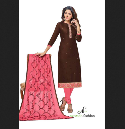 Brown And Burgundy Cotton Churidar Material