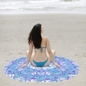 Indian Elephant Mandala Yoga Mat Round Beach Throw Tapestry