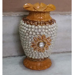 Bead Work Wooden Flower Vase