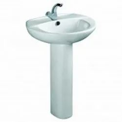 Ceramic White Wall Hung Wash Basins with Pedestal, Model Name/Number: Benelave
