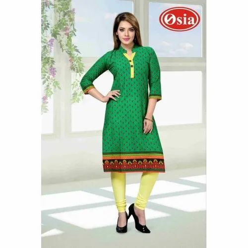 Cotton 3/4th Sleeve Green Ladies Cambric Kurtis, Size: XL