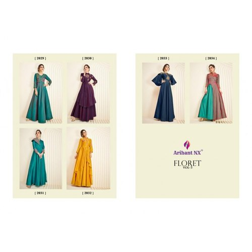 fcc433d575 Arihant Nx Floret Vol 5 Long Hit Kurtis Catalog Top Wholesaler at Rs ...