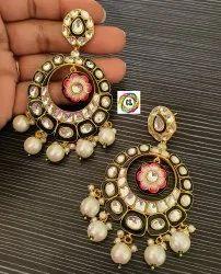 CL Code Bollywood Celebrity Design Round Kundan & Meenakari Jhumka