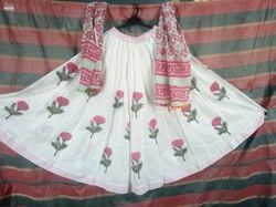Block Printed Cotton Long Skirt, Size: L