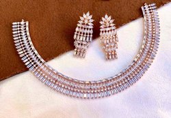 Modern White Americal Diamond Necklace Sets, Occasion: Party
